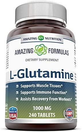 Amazing Formulas L Glutamine Tablets Supplement - 1000mg 120 Tablets Per Bottle - Promotes Workout Recovery, Supports The Immune System & Muscle Maintenance