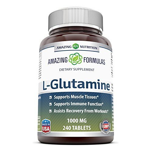 Amazing Formulas L Glutamine Tablets Supplement - 1000mg 240 Tablets Per Bottle (Non-GMO,Gluten Free) - Promotes Workout Recovery, Supports The Immune System & Muscle Maintenance