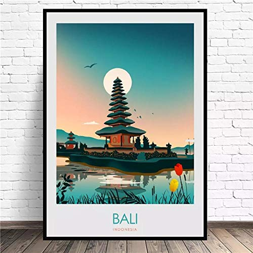 VVSUN Bali Travel Canvas Art Print Wall Poster Living Room Hotel Home Decoration,50x70cm(no frame)