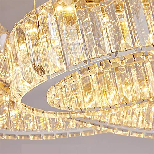 no-branded Große Treppe LED-Kristallleuchter Rund Ring Leuchten Hauptdekoration Cristal Luster Chandeliers YFJFJ Store (Lampshade Color : 3000K, Wattage : Dia60cm 1 Ring)
