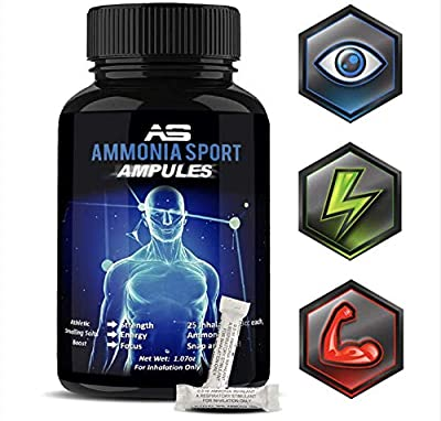 AmmoniaSport Athletic Smelling Salts - Ampules (25) Smelling Salts Powerlifting - Ammonia Inhalant - Salt Sticks - Rush Inhalant - Focus Up - Powerlifting Gear - Focus Aid - Energy Aid - Nose Lifting