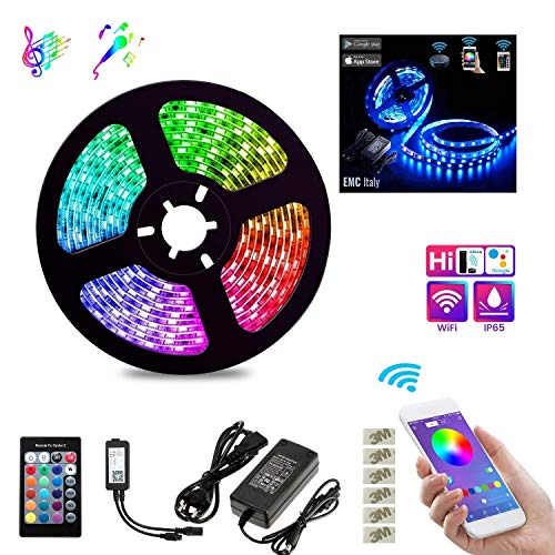 EMC Italy Striscia LED RGB 5M | 300 LED Smart Strip 5050SMD WiFi | Compatibile con Amazon Alexa e Google Home | Kit Nastro LED Intelligente Music Sync | Impermeabile IP65 | Per Interno/Esterno