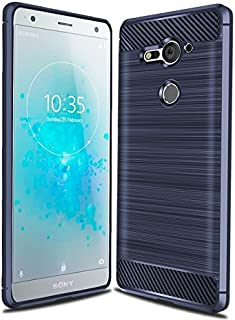 Sony Xperia XZ2 Compact Case, Cruzerlite Carbon Fiber Shock Absorption Slim Case for Sony Xperia XZ2 Compact (2018) (Blue)
