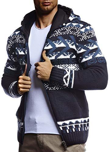 Leif Nelson Herren Strickjacke Kapuze Norwegerjacke Schwarze Winterjacke Kapuzenjacke Männer Jacke für Weihnachten Winter Norweger Muster Übergangsjacke Slim Fit LN20756 XL Blau
