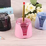 Eagle Electric Pencil Sharpener, Battery Powered, Large Shaving Holders, Carbon Steel Blades, Portable, Reusable and Replaceable Blade, Suitable for Kids, Home, School and Office use, Pink