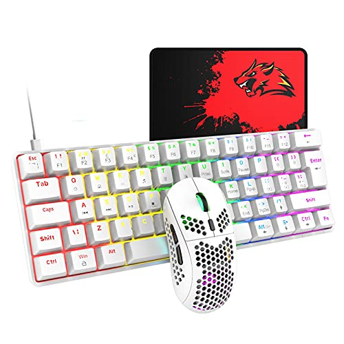 T60 62 Keys Wired Mechanical Gaming Keyboard and Mouse (Not Mute) Combo+Mouse Pad Green Axis,Ultra-Slim Rainbow LED Backlit Keyboard for Desktop, Computer, PC (White)