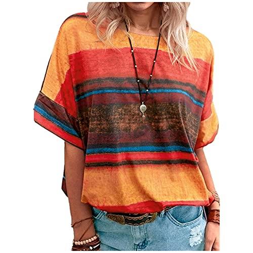 N\P Verano Tie Dye Color Señoras Impreso Camisa O Cuello Suelto