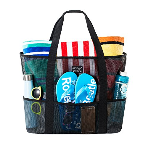SoHo Collection Bolsa de playa de malla – Bolsa de juguete – Bolsa grande ligera para mercado, comestibles y picnic con bolsillos grandes (negro y negro)