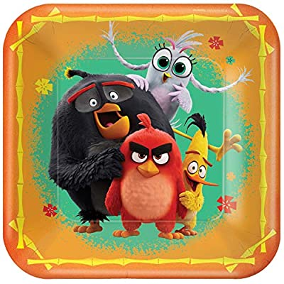 """""""Angry Birds"""" Orange Square Party Paper Plates 9"""", 8 Ct."""
