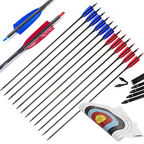 ONEBOW 12 Flechas de 31 Pulgadas + Diana Tiro con Arco - Flechas de Carbono Compuesto Spine 500 Archery Punta reemplazable Brutal para competir 2 Equipos Rojo vs Azul