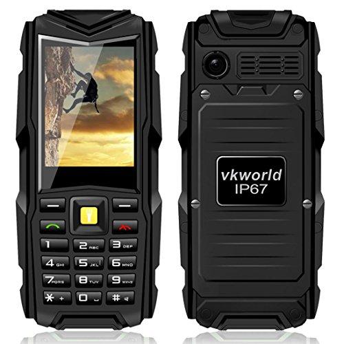 VKworld Pietra V3 IP67 Impermeabile Antiurto Antipolvere Cellulare Power Bank Lungo Standby All'Aperto Esercito 5200mAh 64MB di RAM + 64MB ROM GSM Rete - Nero