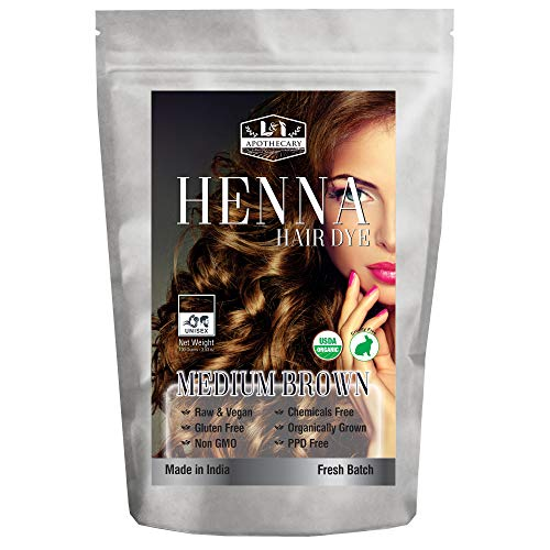 Organic MEDIUM BROWN Henna Hair Dye - USDA Certified Organic Henna For Hair, Natural, gluten free, cruelty free Henna Hair Color