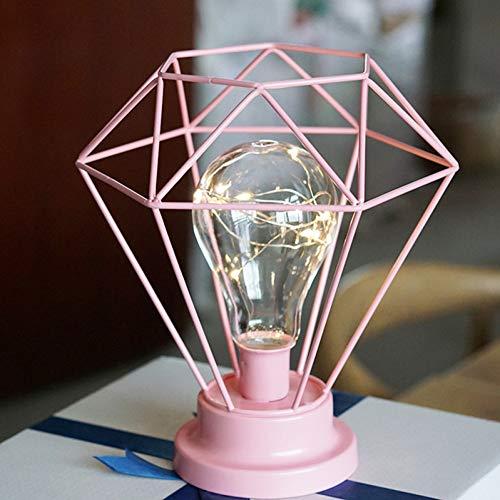 TZSHUQ IJzer Geometrische USB Lamp Decoratie Creatieve Metalen Kandelaar Retro Led Licht Ornament Desktop DIY Home Beeldje Decor Ambacht 2