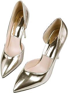 [QIYUN.Z] 女性デイリーファッション尖ったつま先のハイヒールの靴セクシーなパテントレザーの靴