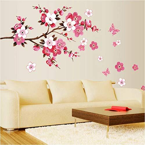 Schöne Kirschblüte Wandaufkleber Wohnzimmer Schlafzimmer Dekoration DIY Blumen PVC Home Decal Wandbild Poster 30 * 90Cm