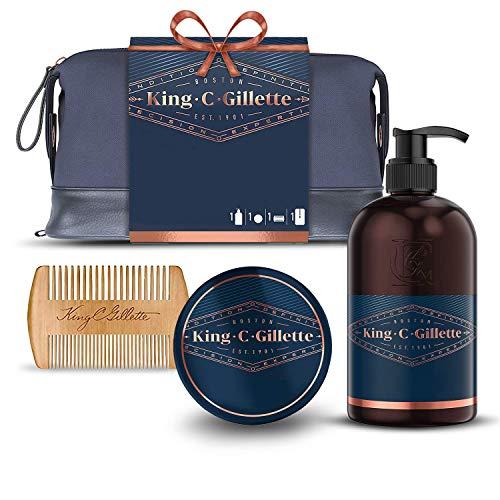 King C. Gillette Bartpflegeset für Männer, Bart- & Gesichtswäsche + Bartbalsam + Kamm, Geschenkset Ideen für Ihn/Vater