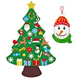 jollylife 3ft DIY Felt Christmas Tree Set Plus Snowman Advent Calendar - Xmas Decorations Wall Hanging 33 Ornaments Kids Gifts Party Supplies