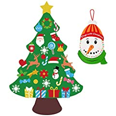 Package includes 1pcs DIY felt Christmas tree,33pcs ornament cutouts,1pcs red string and 1pcs snowman advent calendar.(gift) Felt tree ornaments included:star,snow,Christmas wreath,candy cane,ball,socks,Santa Claus head,lollipop,bell,glove,elk,Santa ...