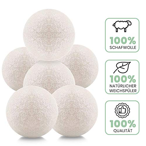 SANBLOGAN Trocknerbälle für Wäschetrockner,XXL Filz-Bälle,6 Stück Trockner Bälle für Wäschetrockner,Trocknerbälle Wolle,Wäsche bälle aus Wolle,Trocknerkugeln aus Schafswolle für Daunen bälle Geschenke