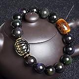 KEEBON Feng Shui Pulsera de Riqueza con Tortuga Accesorios de cáscara Oro Plata Pulsera Tiger Ojo Bead Pulsera Elástica Atrae Amuleto de Riqueza, Oro (Color : Black)