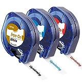 Upwinning Cinta de etiquetas compatible de repuesto para Dymo LetraTag Cinta de tela termoadhesiva LT 18769 18773 18777, 12 mm, cinta de etiquetado para LT-110T LT-100H LT-100T QX50 XR, paquete de 3