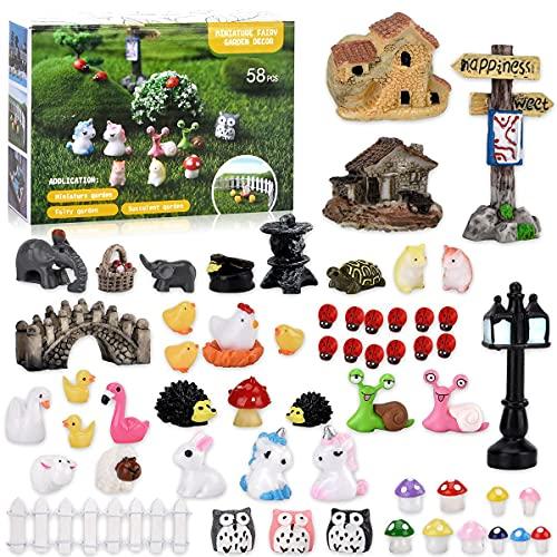 Mini Fairy Garden Accessories Kit, Including 58 Pieces Miniature Fairy...