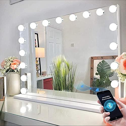 FENCHILIN Extra großer Hollywood-Spiegel mit Licht, Beleuchtung Make-up-Spiegel mit Bluetooth, Tisch-/Hängeleuchter Spiegel 18 dimmbare LED, 3 Farbmodus/Touchscreen/USB-Ladeanschluss/Lautsprecher