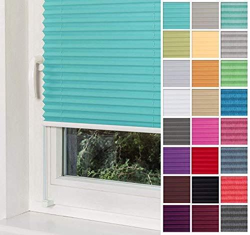 Home-Vision® Premium Plissee Faltrollo ohne Bohren mit Klemmträger / -fix (Türkis, B80cm x H120cm) Blickdicht Sonnenschutz Jalousie für Fenster & Tür