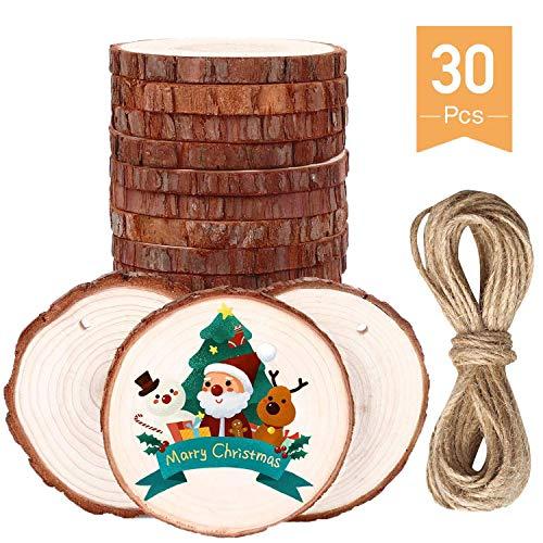 30 Piezas De 6-7 cm Con Agujero y Superficie Lisa Los Rodajas de Madera Natural, Círculos de Madera rústicos para Manualidades DIY, decoración de Bodas, decoración del hogar