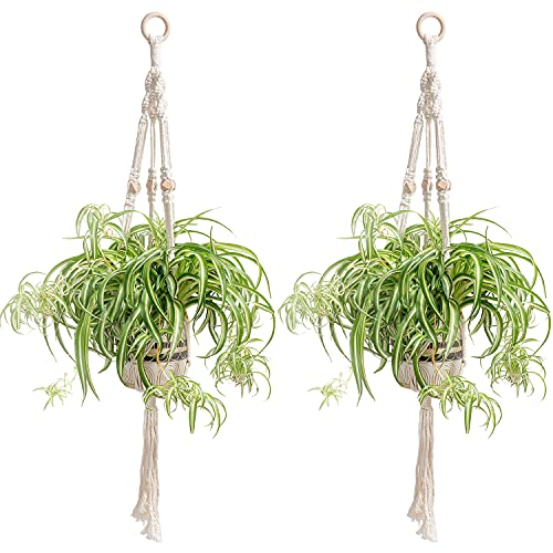 2 Pack Macrame Plant Hangers Indoor with Hooks for Spider Plant Cotton Rope...