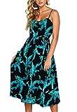 Walant Robes pour Femmes mi-Longue à Bretelles Ete Tie Front Col V Manches Courtes Bouton A-Line Sexy Robe Plage d'été Casual Chic Vintage Floraux, Noir 1, XL