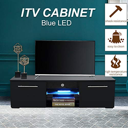 TV Cabinet Wholesale, Black TV Stand with Lights, Modern LED TV Cabinet with Storage Drawers,High Gloss TV Stand for 65 Inch TV Living Room Entertainment Center Media Console Table