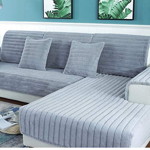 BATSDCB Volltonfarbe Kombination Plüsch Sofa dämpfung, Winter Schnitt Dick Anti-rutsch Sofa schutzhülle Abdeckung Handtuch 1pcs-Grau 110x240cm(43x94inch)