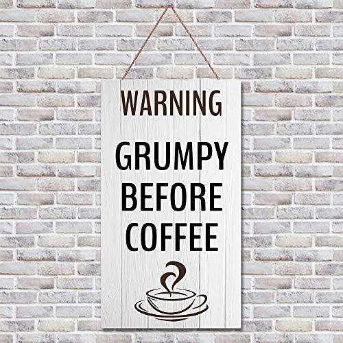 Grumpy-Before-Coffee Hanging Sign, Wood Door Hanger, Funny Wooden Sign,Farmhouse Sign