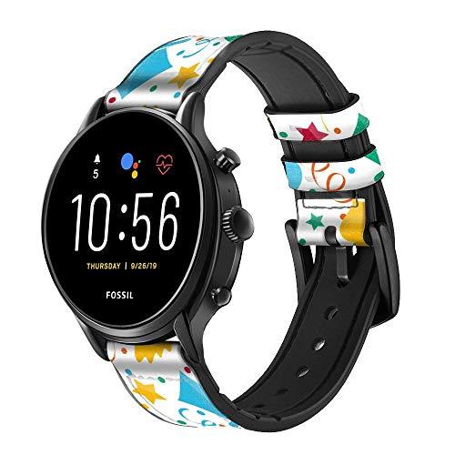 Innovedesire Carnival Pattern Correa de Reloj Inteligente de Cuero y Silicona para Fossil Wristwatch Tamaño (20mm)