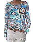 ZANZEA Damen Langarmshirts Lose Blumen Bluse U-Ausschnitt Oversize Sweatshirt Oberteil 01-blumen1 EU 40-42/Etikettgröße M
