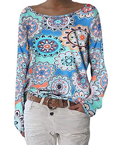 ZANZEA Damen Langarmshirts Lose Blumen Bluse U-Ausschnitt Oversize Sweatshirt Oberteil 01-blumen1 EU 46/Etikettgröße XL