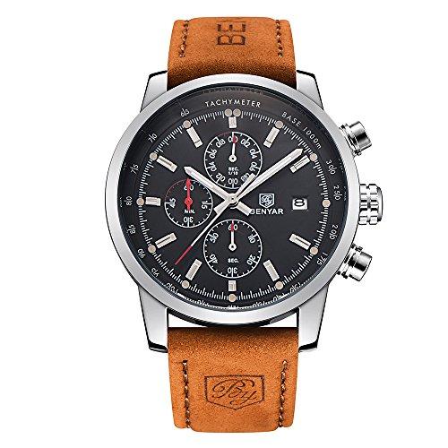 BENYAR Reloj Casual de Cuarzo para Hombre, con Correa de Piel marrón, cronógrafo,...