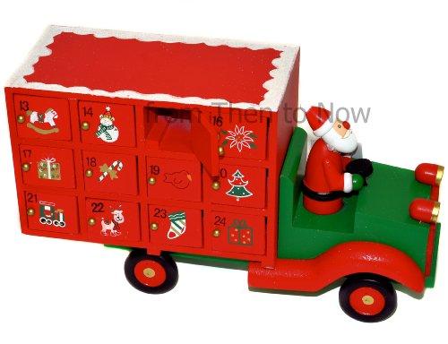 Gisela Graham Holz Weihnachten Adventskalender Weihnachten Weihnachtsmann LKW Schubladen