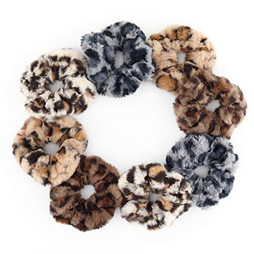 Luxspire Haargummi, 8 Stück Weiche Samt Gummibänder für Herbst und Winter, Elastischer Gürtel Haarbänder Damen Tägliche Gummiband mit Leopardenmuster...