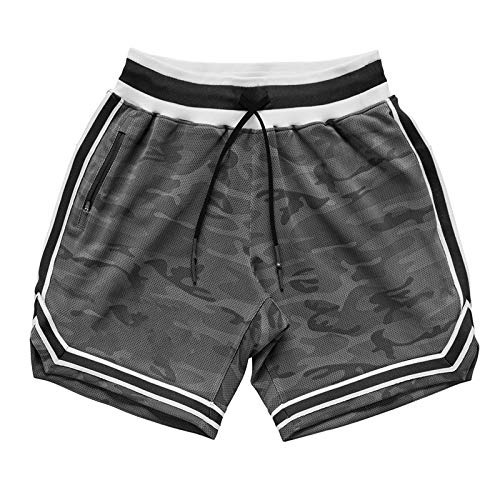 Segindy Pantalones cortos deportivos para hombre de verano de moda de baloncesto de secado rápido relajado - gris - 31W x 21L