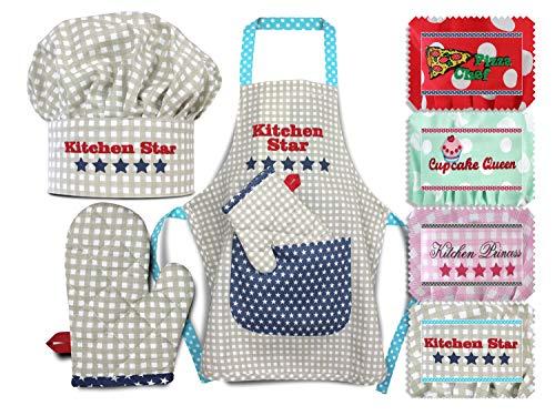 Emily´s Check Kochmütze + Küchenschürze + Topfhandschuh für Kinder - 3teiliges Set 1428.2002, Kitchen Star, Medium [7-12 Jahre]