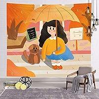 キャラクターアニメーションタペストリー、手描きのイラストルーム装飾背景布、寝室のリビングルーム寮、窓カーテンピクニックマット E- 150x130cm