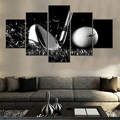 Black and White Paintings Golf Course Pictures Golf Ball Wall Art for Living Room Golfing Sports Artwork 5 Piece Prints on Canvas House Modern Decor Giclee Framed Stretched Ready to Hang(60''Wx 32''H)