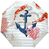 Oceano Mare Ancora Pesce Carpa Striscia Ombrello aperto automatico Ombrellone pioggia Ombrello automatico compatto anti UV