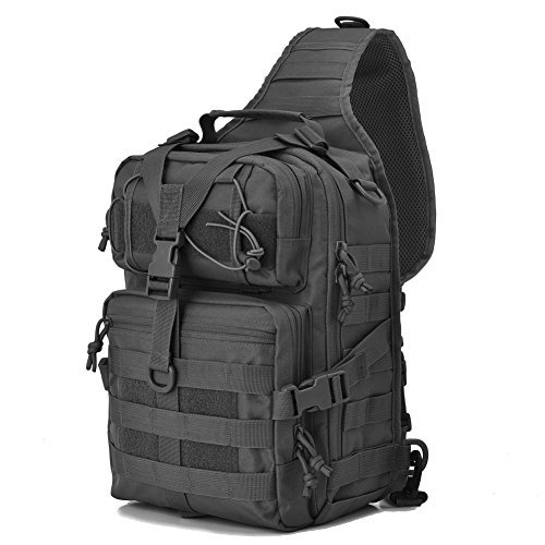 Tactical Sling Bag Pack Military Rover Shoulder Sling Backpack EDC Molle Assault Range Bags Day Pack with Tactical USA Flag Patch