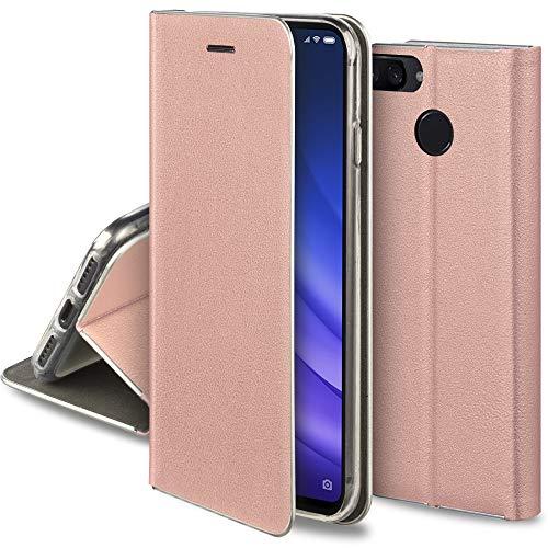 Moozy Funda con Tapa para Xiaomi Mi 8 Lite, de Cuero PU Oro Rosado – Elegante Flip Cover con Bordes Metalizados de Protección, Soporte y Tarjetero