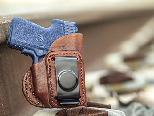 OutBags USA LS4P380X (Brown-Right) Full Grain Heavy Leather IWB Conceal Carry Gun Holster for Kahr P380 with Crimson Trace Laser. Handcrafted in USA.
