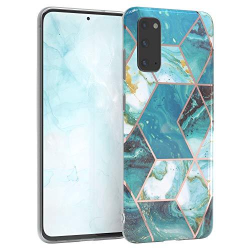 EAZY CASE Handyhülle Silikon mit Kameraschutz kompatibel mit Samsung Galaxy S20, im Marmor Design, Marmor Motiv Hülle, Ultra dünn, Slimcover, Silikonhülle, Backcover, Grün