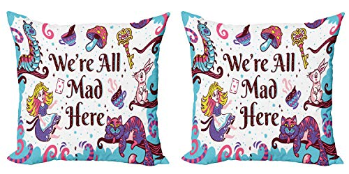 Ambesonne Alice in Wonderland Throw Pillow Cushion Cover Pack of 2, We are All Mad Here Words with Caterpillar White Rabbit Cheshire Cat, Zippered Double-Side Digital Print Decor, 16', Purple Blue